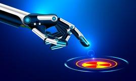 Der Roboterarm drückt den Zeigefinger auf dem Knopf mit der Ikone der Kerngefahr Stockfotos