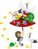 Der Rollenregenschirm Stockbild