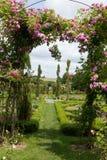 Der romantische Durchgang in der Pergola von den Rosen Stockbild