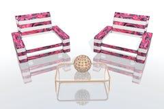 Der rosafarbene Aufenthaltsraum Lizenzfreie Abbildung