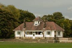 Der rot-überdachte Pavillon stockbild