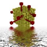 Der rote Block, der aus viele goldenen Schwarzen herauskommt Stockbilder