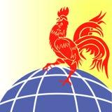 Der rote Hahn des kommenden Jahres, chinesisches Jahr des Feuer-Hahns, stilisierte Illustration Stockfotos
