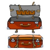 Der rote Koffer ist offen und geschlossen Design der Reise sackt isola ein vektor abbildung