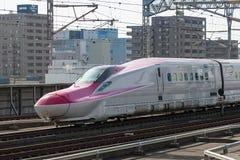 Der rote Zug der Kugel der Reihe E6 (Hochgeschwindigkeits- oder Shinkansen) Lizenzfreies Stockfoto