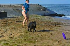 Der Rottweiler-Hund und ihre Geliebte im Wasser Stockbild