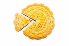 Der runde chinesische Mondkuchen Stockfoto