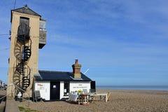 Der Südausblick, Aldeburgh-Strand, Suffolk, England Lizenzfreies Stockfoto