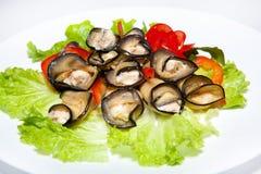 Der Salate, ersten und zweiter Kurse der Aperitifs, Suppe Stockfotos