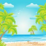 Der sandige Strand, Palmen, Ferien Stockbild