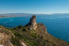 Der Sattel-Ansicht des Teufels über Cagliari, Sardegna Lizenzfreie Stockfotografie