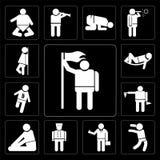 Der Satz des Mannes eine Flagge, springenden Mann, Tumb halten herauf Geschäftsmann, Hotelpage, Personenüben verstärken Lage, Fla Lizenzfreies Stockbild