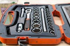 Der Satz des Schlüssels im Werkzeugkasten Stockbilder