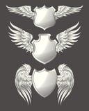 Der Satz des Vektors himmlisch oder des Vogels beflügelt mit heraldischen Schildern stock abbildung
