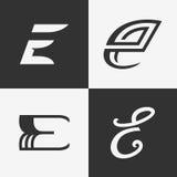 Der Satz des Zeichens des Buchstaben E, Logo, Ikonendesign-Schablonenelemente Lizenzfreies Stockbild