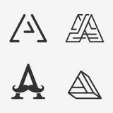 Der Satz des Zeichens des Buchstaben A, Logo, Ikonendesign-Schablonenelemente Stockfotos