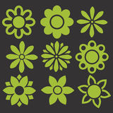 Der Satz Grün lokalisiert blüht Ikonen Stockfotos
