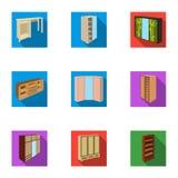Der Satz von Bildern auf dem Thema von verschiedenen Betten des Schlafes und des Restes für jeden Geschmack und Farbe Bettikone i Stockfotos