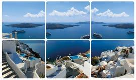 Der Satz von den Ansichten in Oia, Santorini, Griechenland Stockfotografie