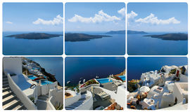 Der Satz von den Ansichten in Oia, Santorini, Griechenland Stockfoto