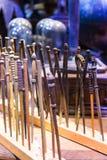 Der Satz von den magischen Stäben benutzt in den Filmen über Harry Potter, BLÄTTER Stockbilder
