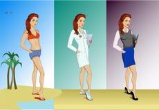 Der Satz von drei jungen Frauen in der unterschiedlichen Kleidung Stockfoto