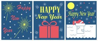 Der Satz von 3 Grußkarten für neues Jahr Lizenzfreies Stockfoto