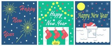 Der Satz von 3 Grußkarten für neues Jahr Lizenzfreie Stockfotografie