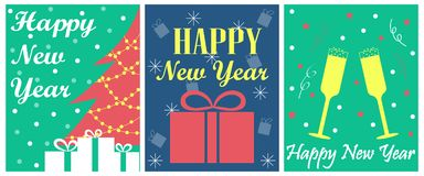 Der Satz von 3 Grußkarten für neues Jahr Lizenzfreie Stockfotos