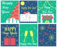 Der Satz von 6 Grußkarten für neues Jahr Stockbild