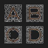 Der Satz von stilvollen Monogrammemblemschablonen Zeichen A, B, C, D Auch im corel abgehobenen Betrag Stockfotos