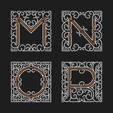 Der Satz von stilvollen Monogrammemblemschablonen Zeichen M, N, O, P Auch im corel abgehobenen Betrag Stockbilder