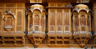 Der schöne Patwon-ki Haveli-Palast gemacht von goldenem Kalkstein I lizenzfreies stockfoto