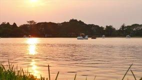 Der schöne See mit Goldsonnenlicht bei Sonnenuntergang stock video footage