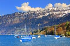 Der schöne See Thun Thunersee auf Deutsch Stockfoto