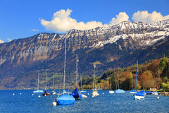 Der schöne See Thun - Thunersee auf Deutsch Lizenzfreies Stockbild