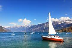 Der schöne See Thun Thunersee auf Deutsch Stockbilder