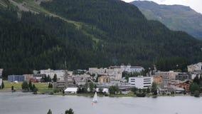 Der schöne See von sankt Moritz stock footage