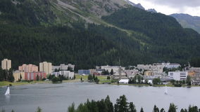 Der schöne See von sankt Moritz stock video footage