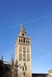Der schöne Sevilla-Kathedralenturm Stockfotos