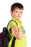 Der Schüler mit dem Daumen oben Stockfoto