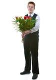 Der Schüler mit einem Blumenstrauß Lizenzfreies Stockbild