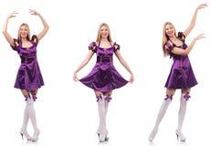 Der sch?ne T?nzer im purpurroten Kleid lizenzfreies stockbild