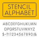 Der Schablonen-dünne Alphabet-Vektor-Guss Lizenzfreie Stockfotos