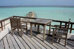 Der Schacht von einer Insel, Maldives Stockbild