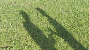 Der Schatten der Paare auf Gras stock footage