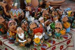 Der Schaukasten mit Usbek-Andenken Lizenzfreie Stockbilder