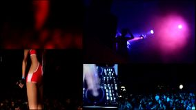 Der Schaum, der Partei DJ, Reflektor vj mit einer Keule schlägt, beleuchtet…. stock footage