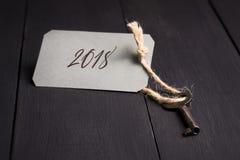 Der Schlüssel mit dem Tag 2018 Kopieren Sie Platz Hintergrund des neuen Jahres Lizenzfreie Stockfotos