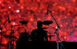 Der Schlagzeuger Silhouette lizenzfreie stockbilder